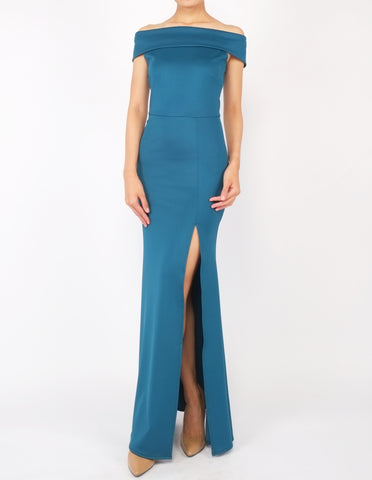 Hava Off-Shoulder Gown (Teal)