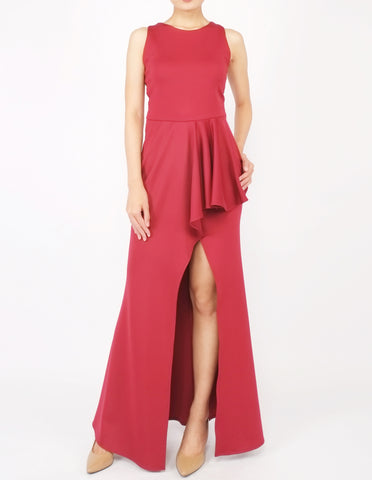 Hye Split Skirt Gown (Maroon)