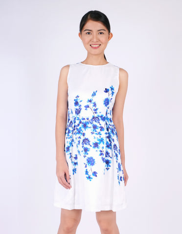 Danae Blue Floral A-Line Dress
