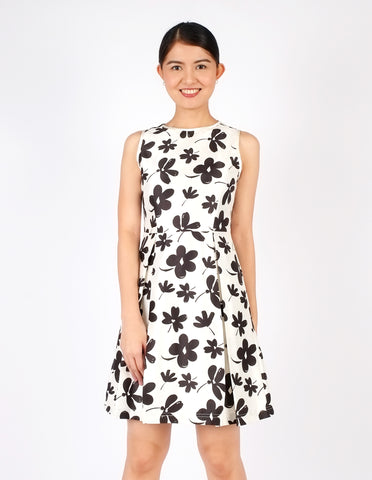 Darlene Black and White Floral A-Line Dress
