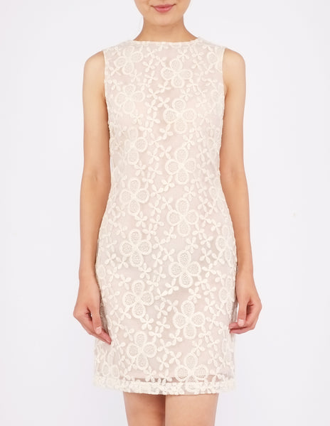 Dawn Organza Shift Dress (Cream)