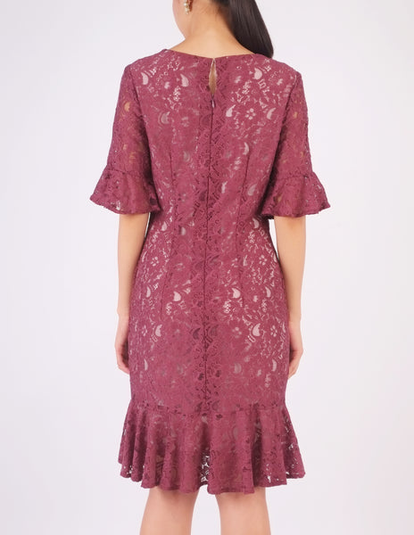 Elaine Lace Flounce Dress (Plum)