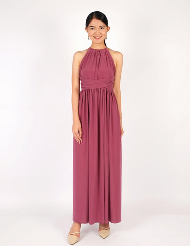 Elena Draped Maxi Dress (Mauve)