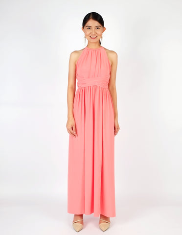 Elena Draped Maxi Dress (Peach)