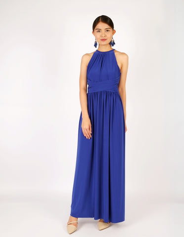 Elena Draped Maxi Dress (Royal Blue)
