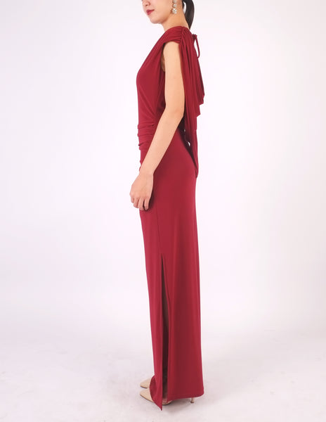 Eliana Cowl Back Maxi Dress (Maroon)