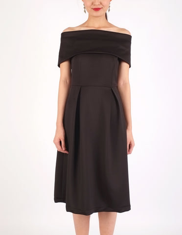 Elinor Off-Shoulder Midi Dress (Black)