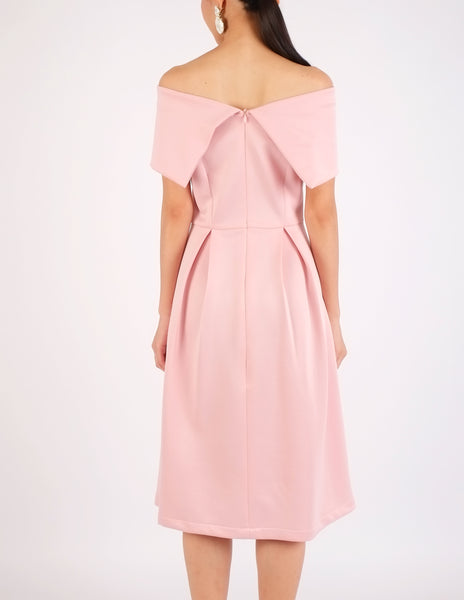 Elinor Off-Shoulder Midi Dress (Blush Pink)