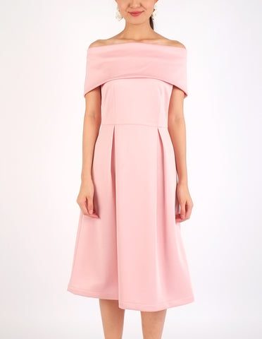 Elinor Off-Shoulder Midi Dress (Peach)