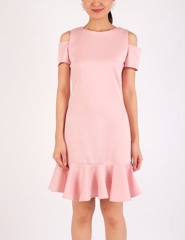 Ella Cold-Shoulder Flounce Dress
