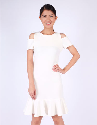 Ella Cold-Shoulder Flounce Dress (Ivory)