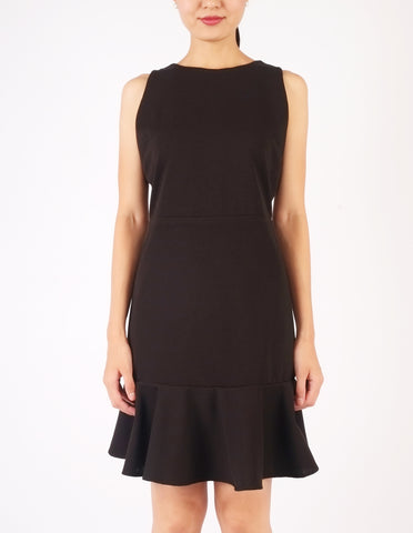 Elle Flounce Hem Dress (Black)