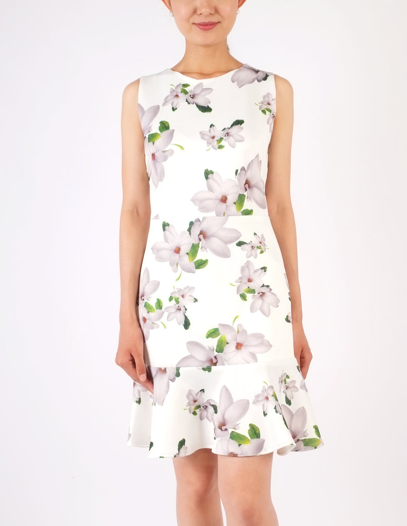 Elle Flounce Hem Dress (Floral)