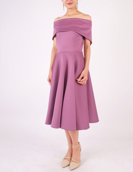 Ellery Off-Shoulder Dress (Mauve)