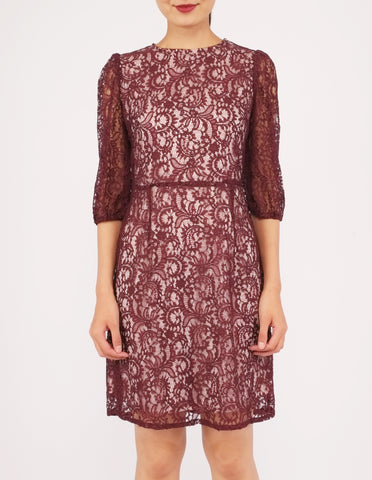 Elvie 3/4 Sleeves Lace Dress (Plum)