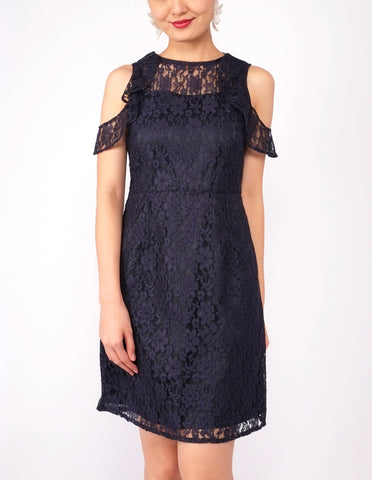 Esme Flounce Cold Shoulder Lace Dress