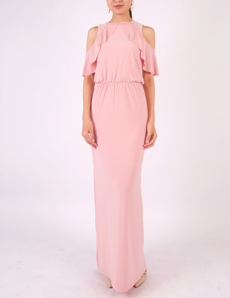 Essie Cold Shoulder Maxi Dress (Blush Pink)