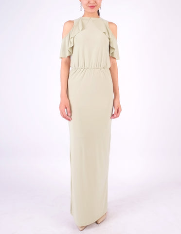Essie Cold Shoulder Maxi Dress (Sage Green)
