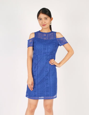 Estelle Cold-Shoulder Lace Dress (Royal Blue)