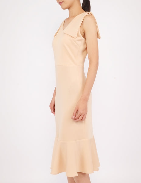Eugenia Bow Detail Dress (Beige)