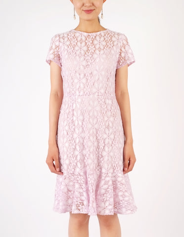 Eula Lace Flounce Hem Dress (Lilac)