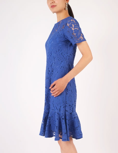 Eula Lace Flounce Hem Dress (Royal Blue)