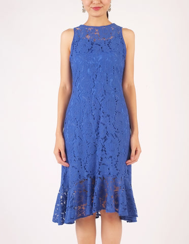 Eva Lace Midi Dress (Royal Blue)
