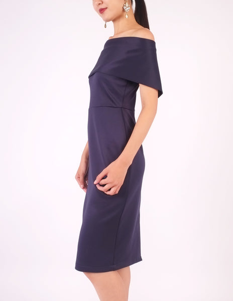 Evita Off-Shoulder Bodycon Dress (Navy)