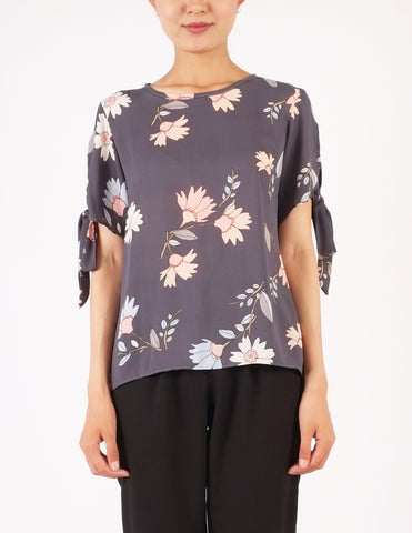 Fani Tie Sleeves Top (Grey Floral)