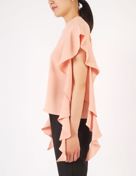 Faye Frill Sleeves Top (Peach)