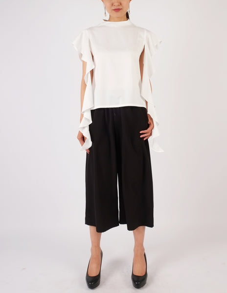 Faye Frill Sleeves Top (White)