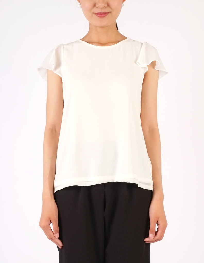 Fifi Flutter Sleeves Top (White)