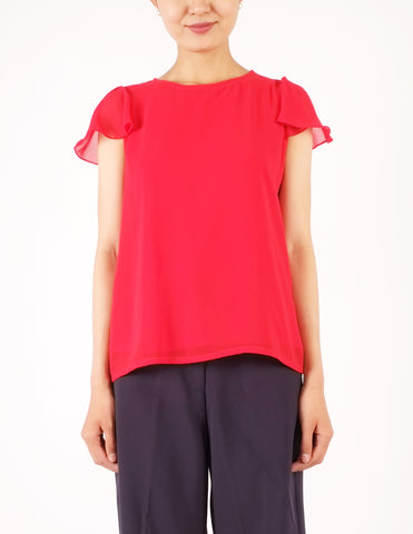 Fifi Flutter Sleeves Top (Red)
