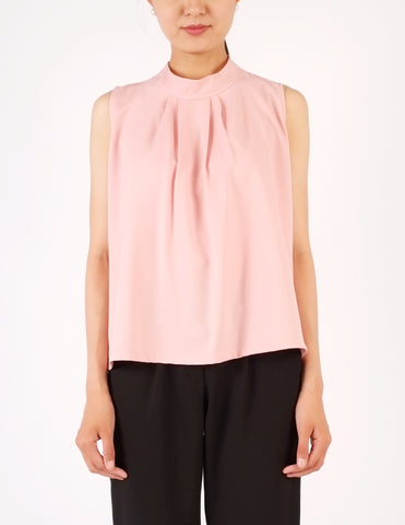 Fiona Pleat Front Sleeveless Top (Blush Pink)