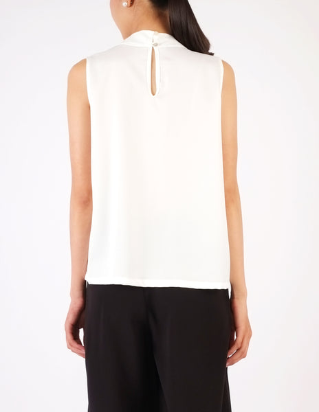 Fiona Pleat Front Sleeveless Top (White)