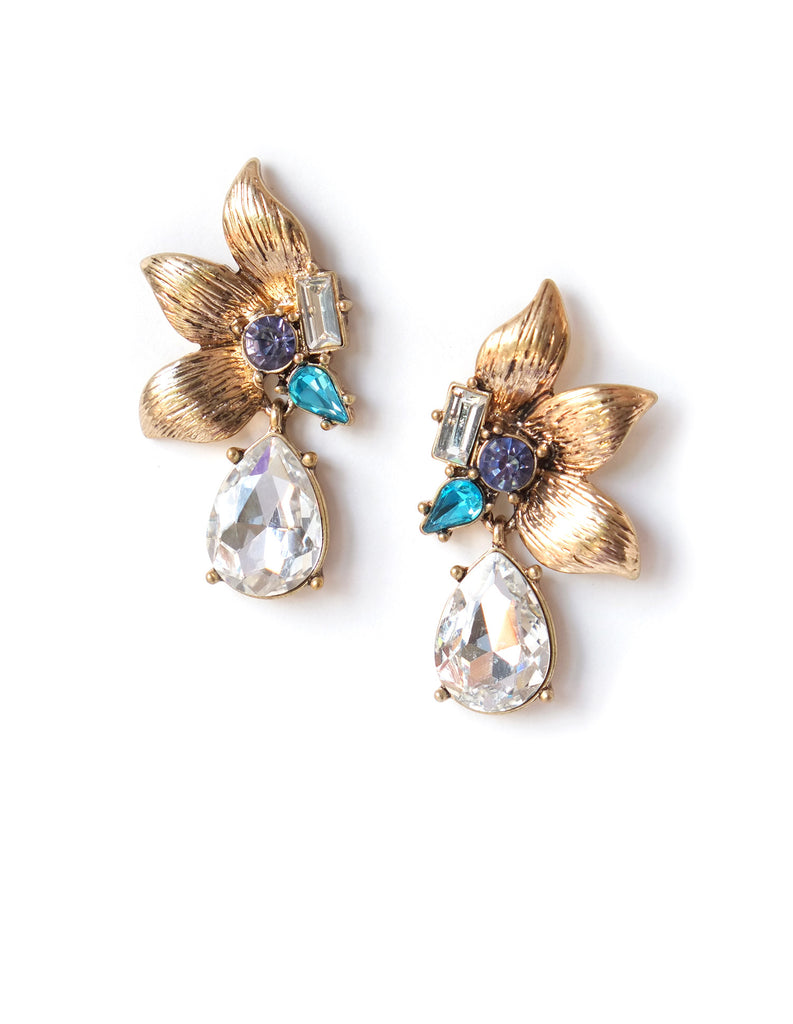 Pansy Floral Multicolored Crystal Drop Earrings