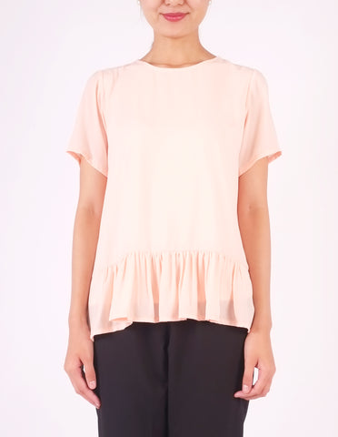Francine Peplum Top (Peach)