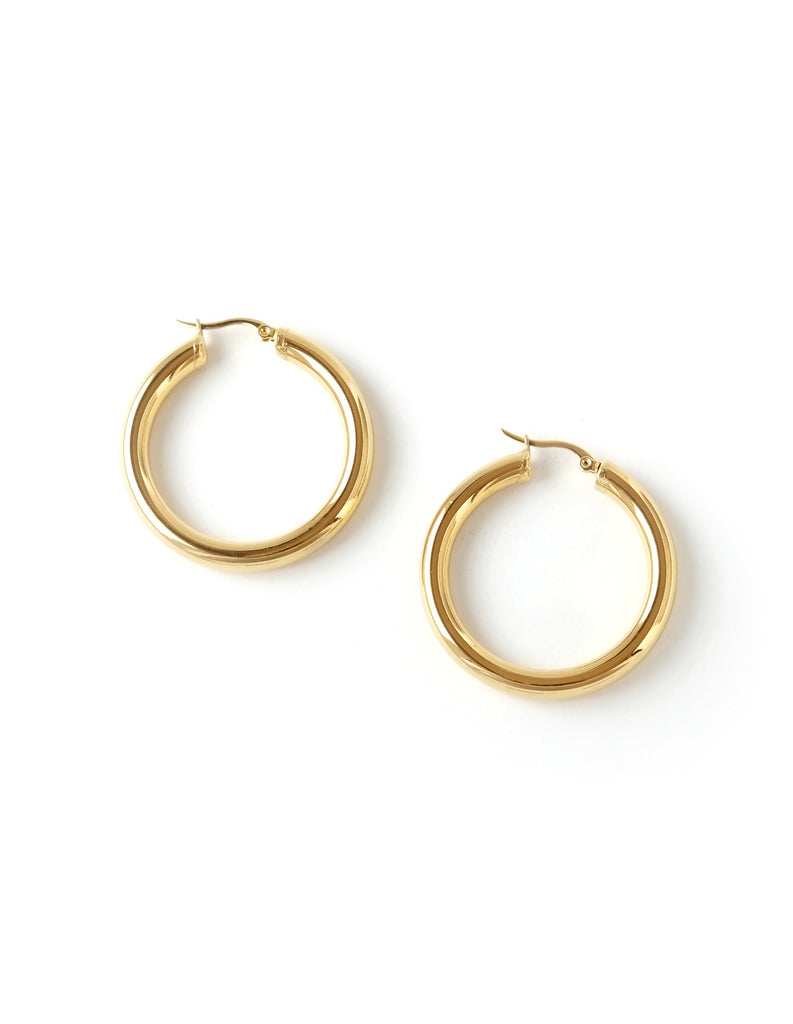 "Essential Gold Hoop Earrings (1.5"")"