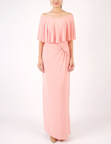 Hailey Off-Shoulder Maxi Dress (Peach)