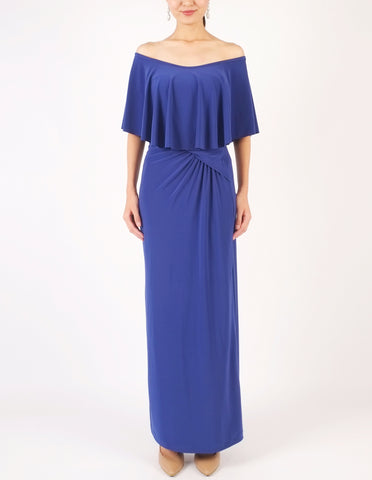 Hailey Off-Shoulder Maxi Dress (Royal Blue)