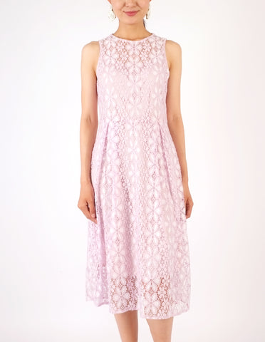 Hazel Lace Fit-and-Flare Dress (Lilac)
