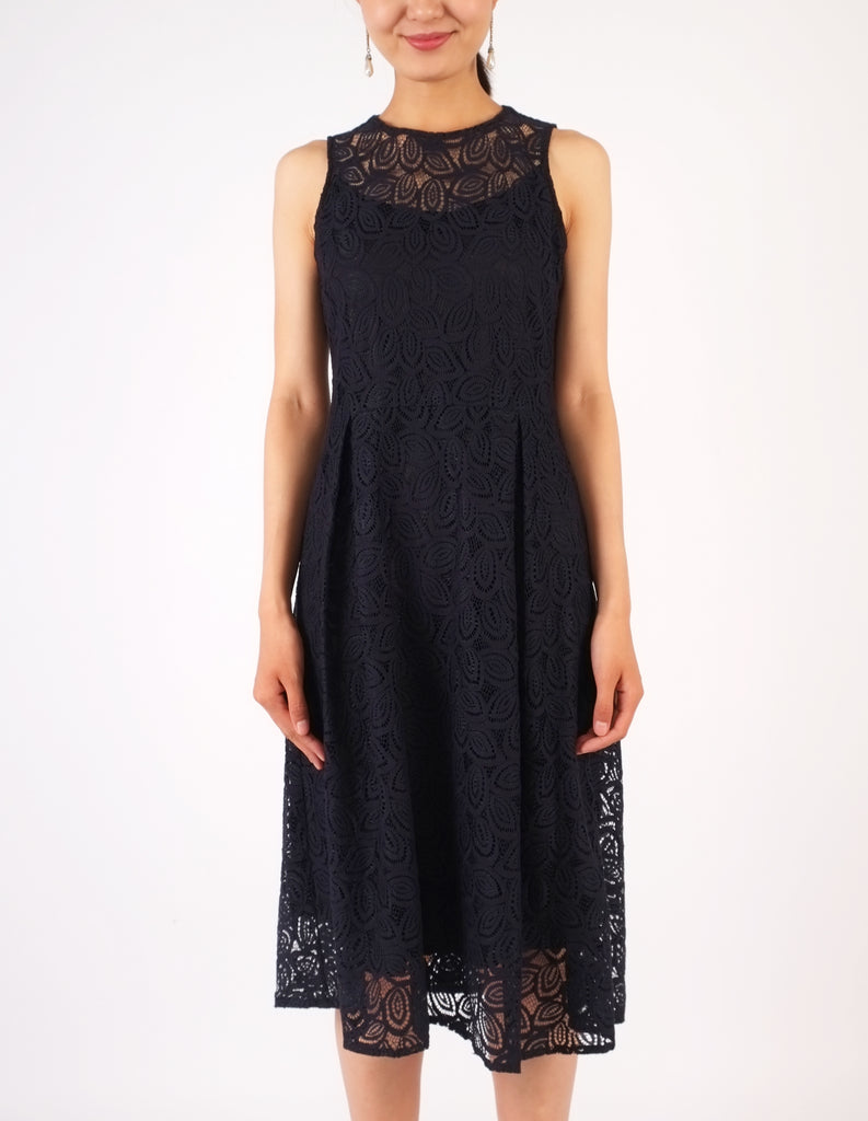 Hazel Lace Fit-and-Flare Dress (Navy)