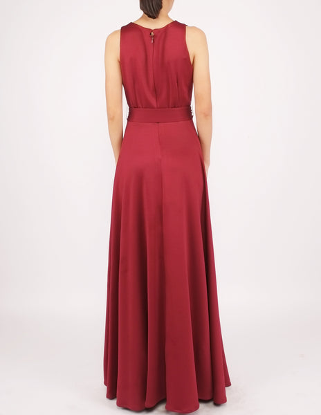 Heloise Long Dress with Sash (Maroon)