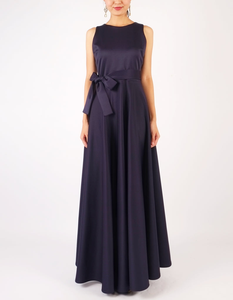 Heloise Long Dress with Sash (Navy)
