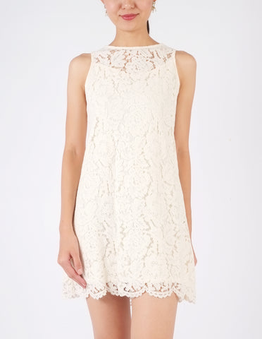 Hilary Lace Shift Dress (Cream)