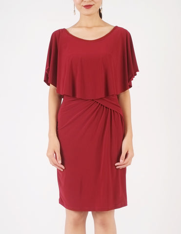 Holly Off-Shoulder Short Dress (Maroon)