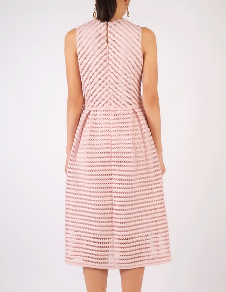 Hope Striped Neoprene Fit-and-Flare Dress (Dusty Pink)