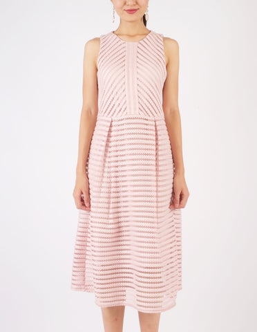 Hazel Striped Neoprene Fit-and-Flare Dress (Dusty Pink)