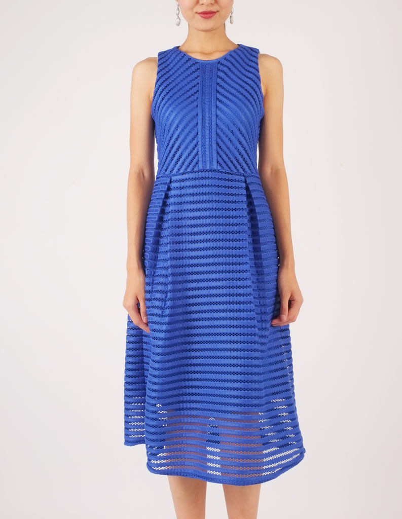Hope Striped Neoprene Fit-and-Flare Dress (Royal Blue)