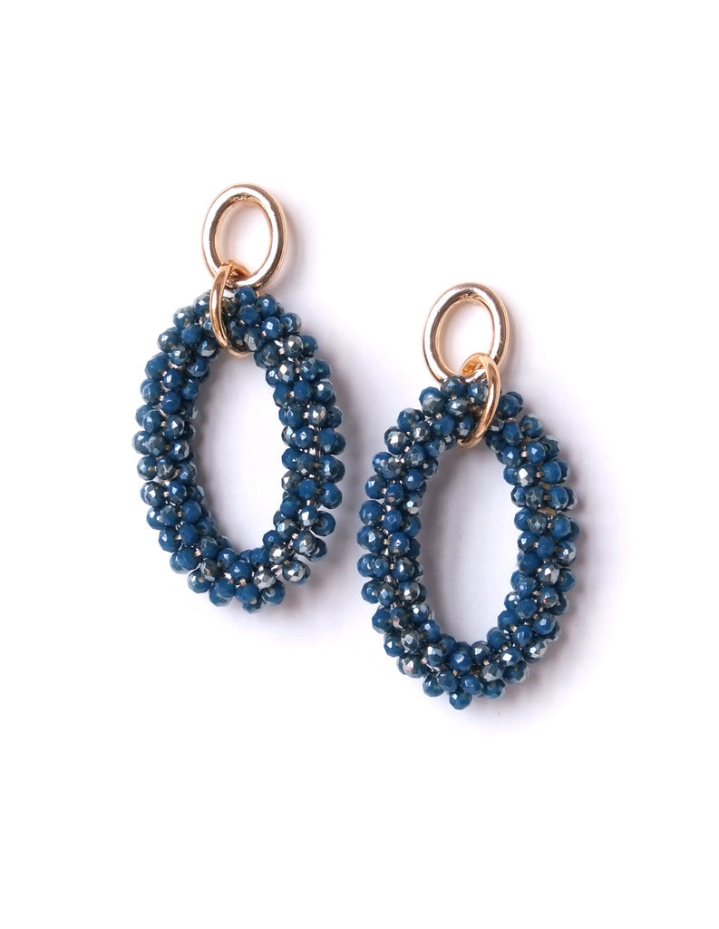 Rachel Beaded Oval Earrings (Prussian Blue)